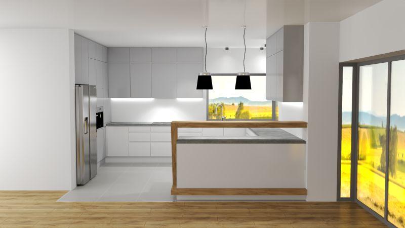 Gotowe projekty kuchni | kuchnia biało szara