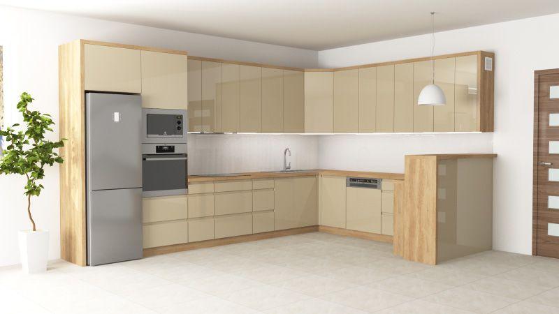 Gotowe projekty kuchni - kuchnia kremowa z drewnianym blatem