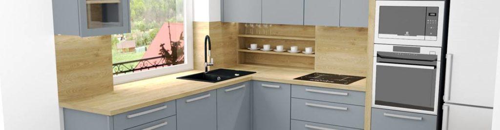 Szara kuchnia z drewnem | koncept3d