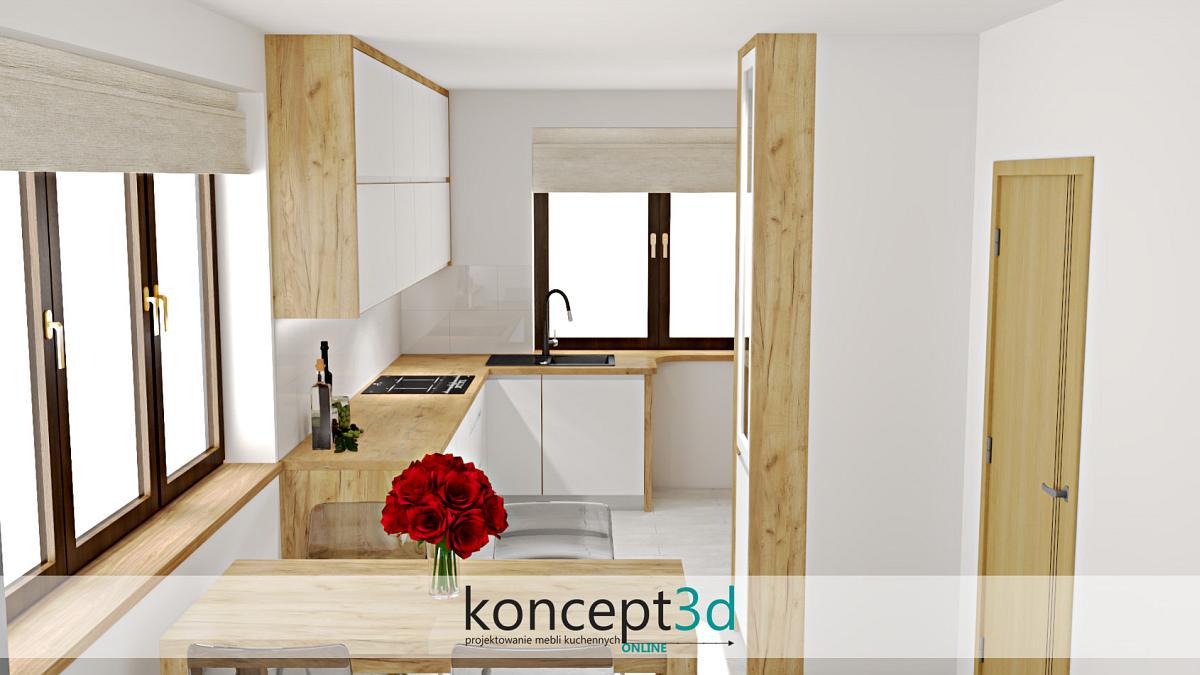 Piękna biała kuchnia w drewnianej ramie | koncept3d