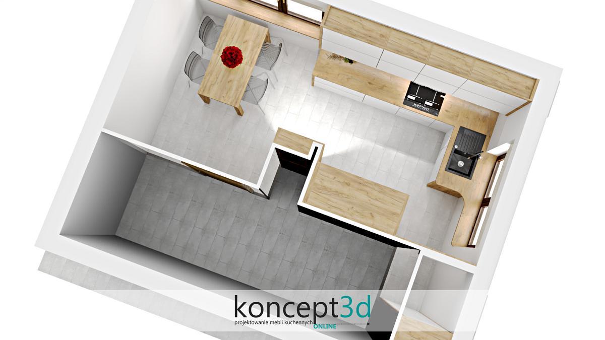 Rzut z góry na piękną białą kuchnię | koncept3d