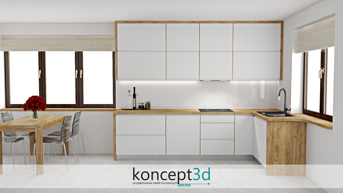 Nowoczesna biała kuchnia w drewnianej ramie i z drewnianym stołem
