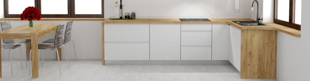Biała kuchnia w drewnianej ramie - baner