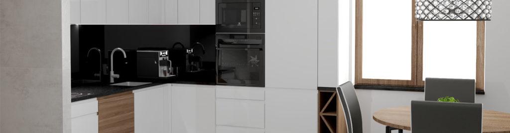 Biała kuchnia z czarnym blatem baner