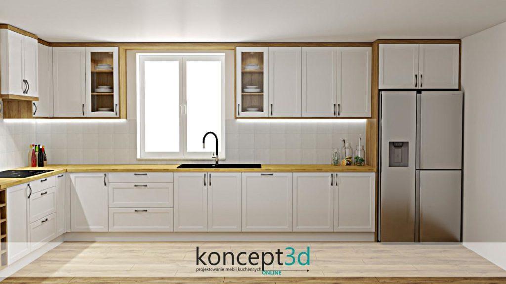 Biała kuchnia z drewnianym blatem i dużym oknem