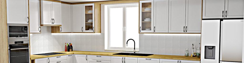 Klasyczna biała kuchnia z drewnianym blatem - baner