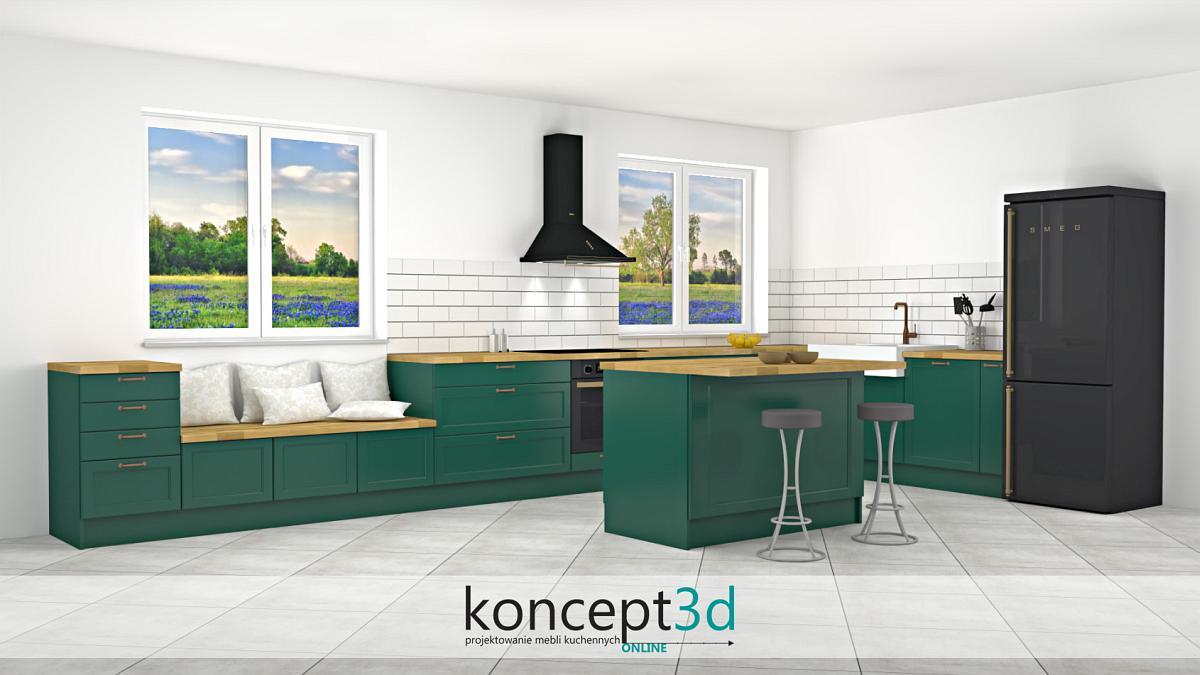 Projekt mebli kuchennych w kolorze butelkowej zieleni z wyspą | koncept3d