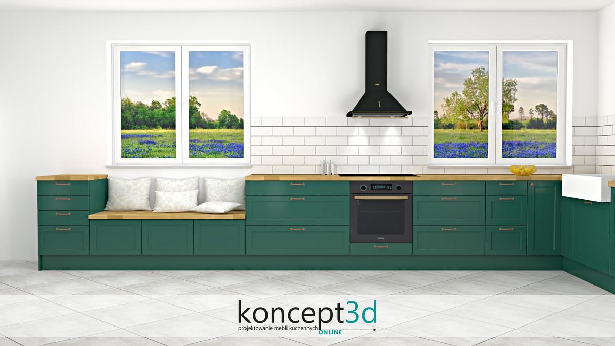 Projekt mebli kuchennych w kolorze butelkowej zieleni z dużymi oknami