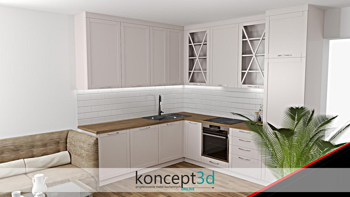 Projekt klasycznej, ciepłej i przytulnej kuchni z drewnianym blatem