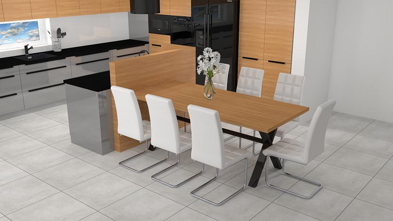 Wyspa kuchenna z dostawianym stołem i krzesłami