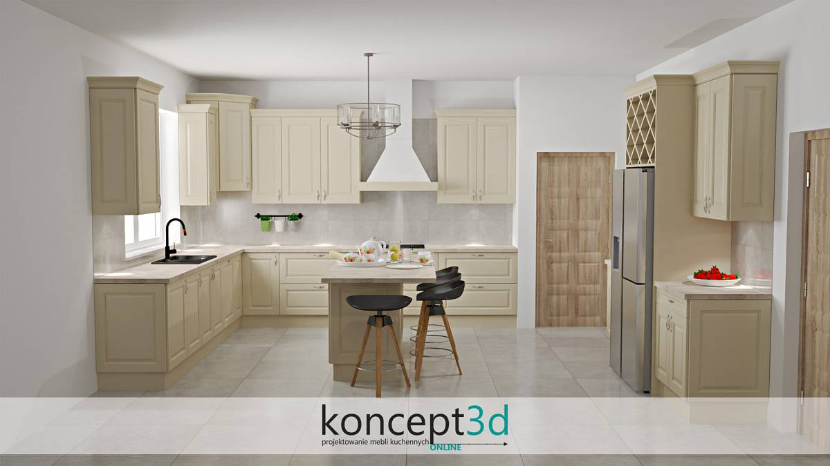 Klasyczna kremowa kuchnia z wyspą i drewnianym pochłaniaczem | koncept3d