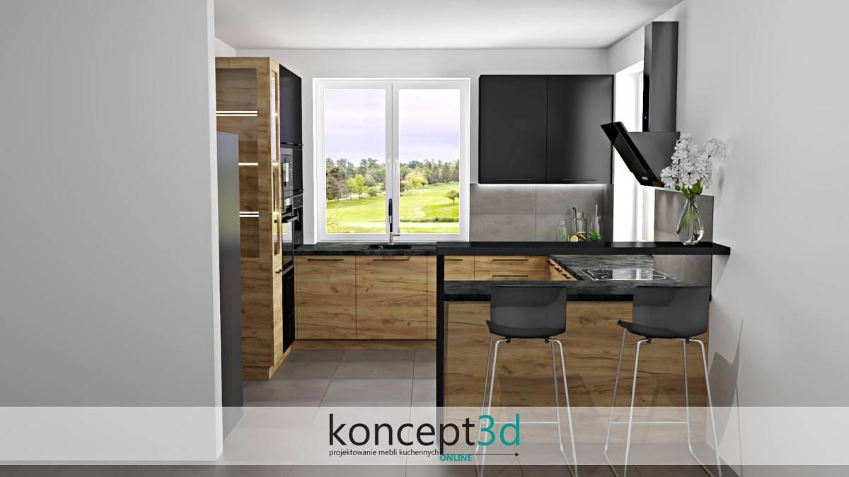 Aranżacja czarno drewniana kuchnia prezentuje cię bajecznie | koncept3d