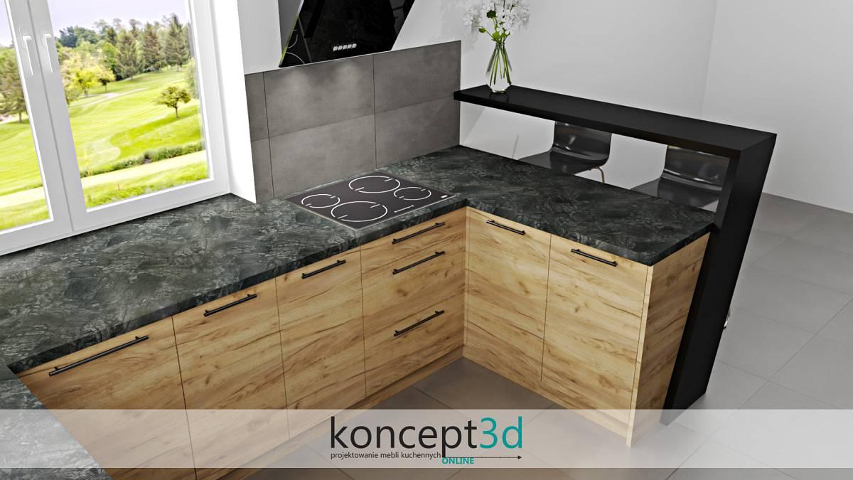 Widok na półwysep w czarno drewnianej kuchni