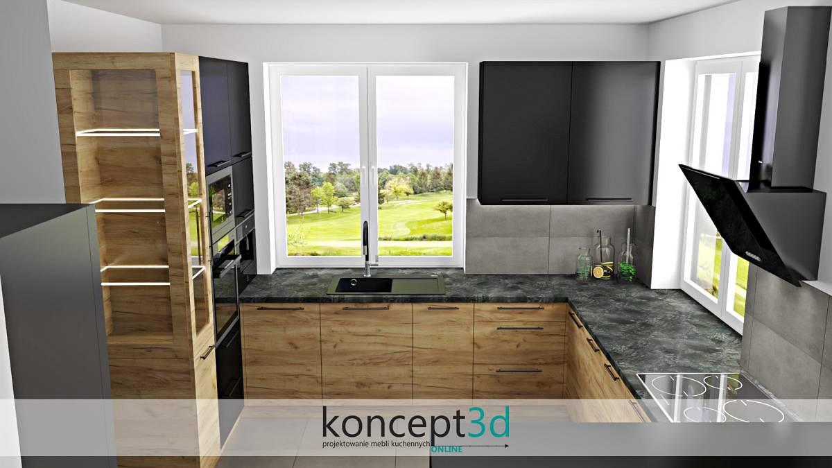 Duże okna w czarno drewnianej kuchni dodadzą naturalnego światła z zewnątrz