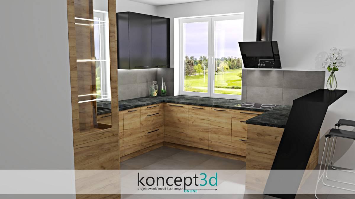Kuchnia czarno drewniana z dużym oknem i wolnowiszącym okapem