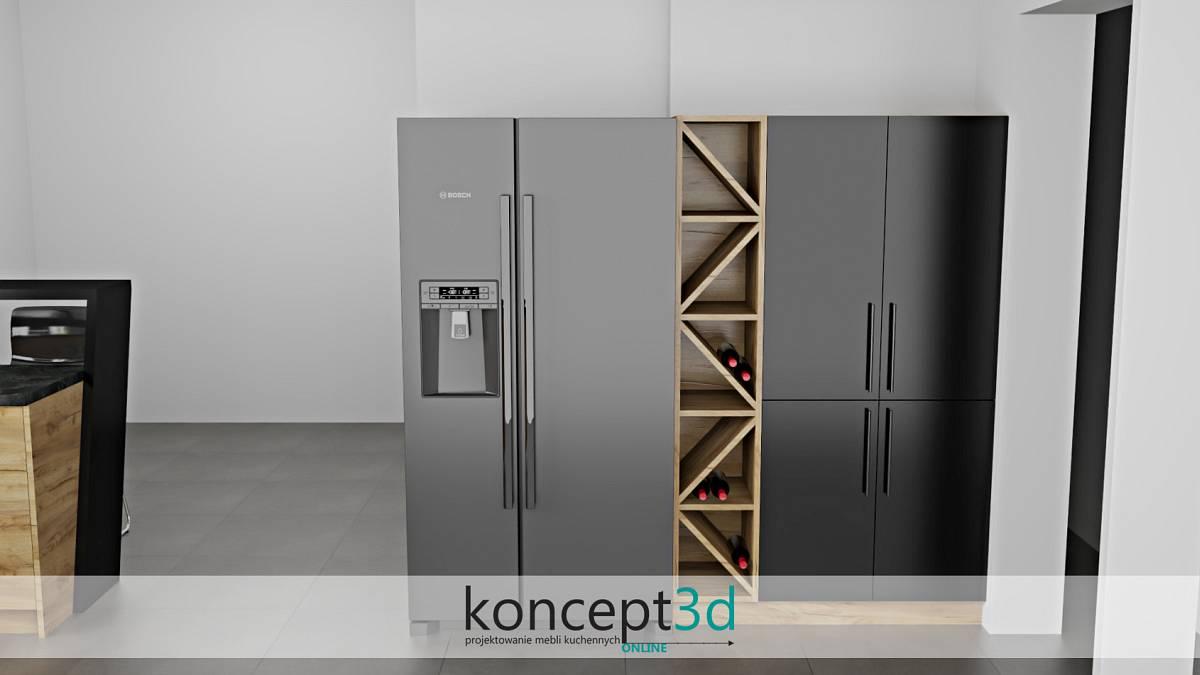 Wolnostojąca lodówka SbS i środkiemotwarte półki na wino | koncept3d