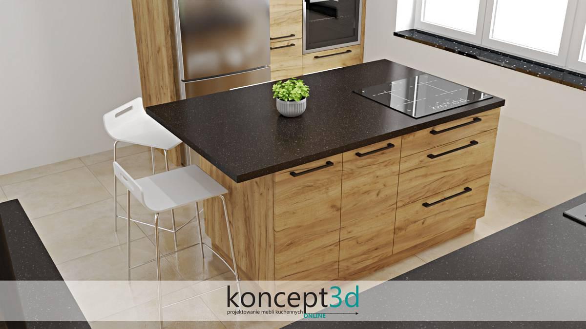 Drewniana wyspa kuchenna wraz czarnym blatem | koncept3d