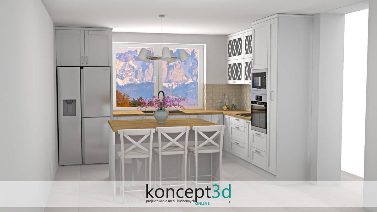 Klasyczny projekt kuchni i wyspa na środku