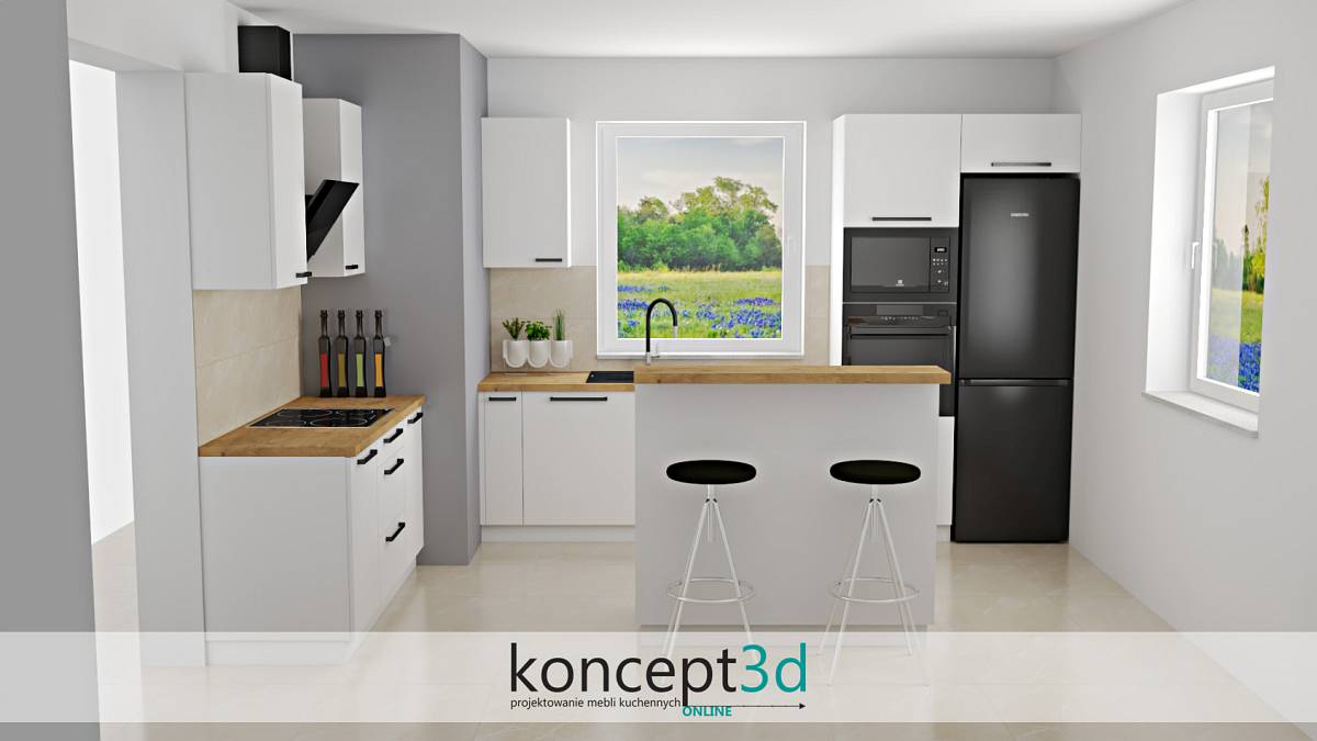 Białe meble do kuchni z niewielką wyspą do siedzenia | koncept3d
