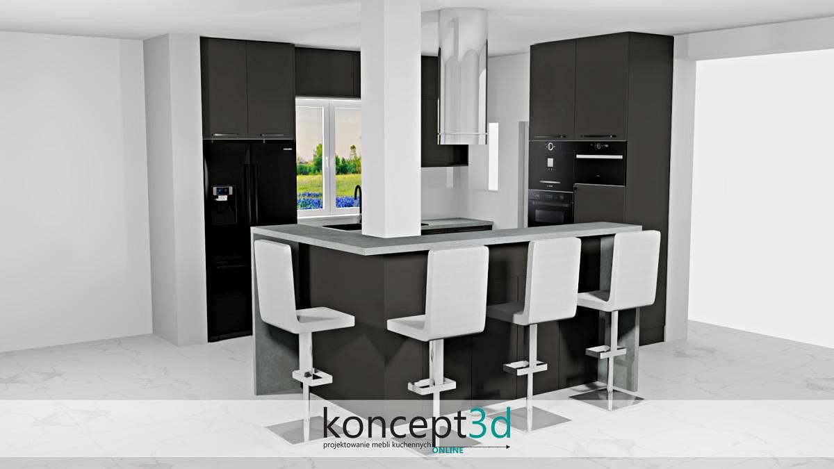 Aranżacja czarnej kuchni z obudowanym przez wyspę filarem | koncept3d