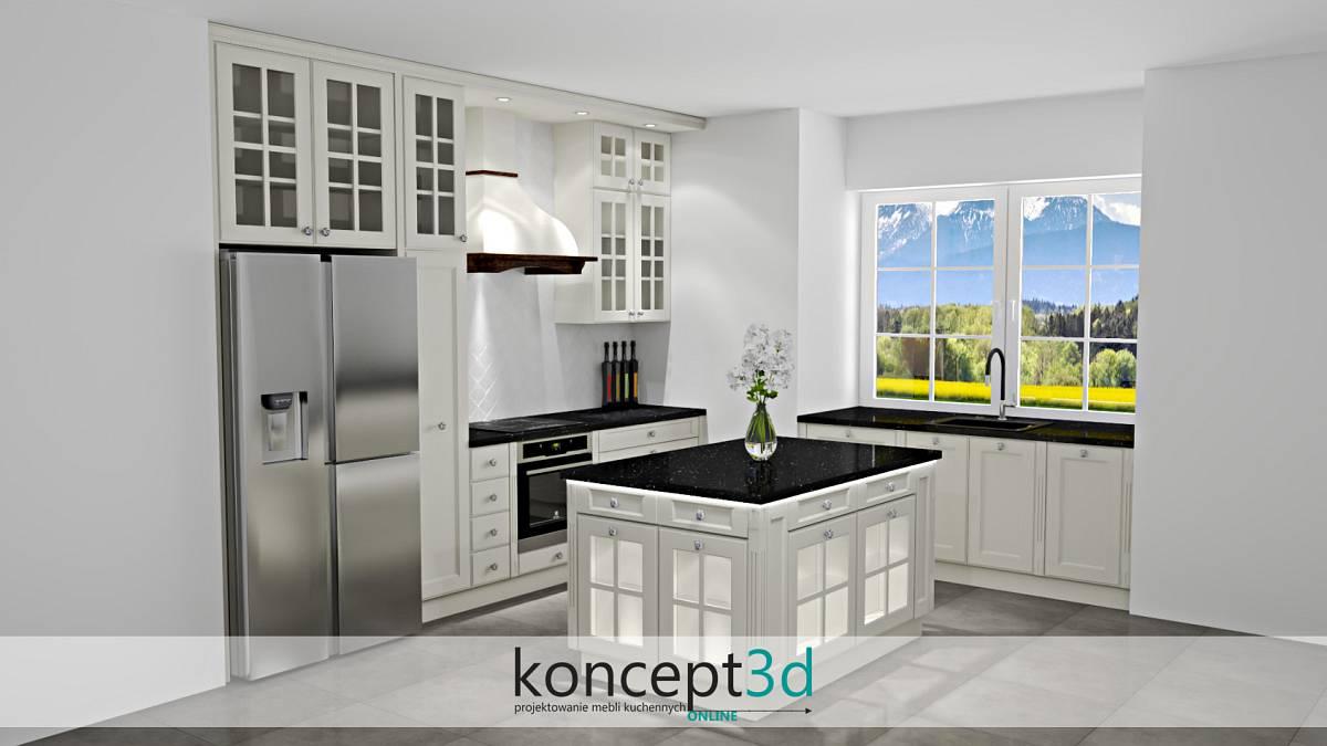 Duża klasyczna kuchnia z witrynami i podświetloną wyspą | koncept3d