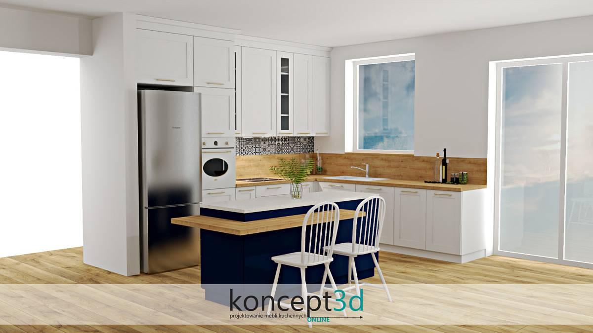Projekt kuchni w jasnych barwach i z granatową wolnostojącą wyspą na środku | koncept3d