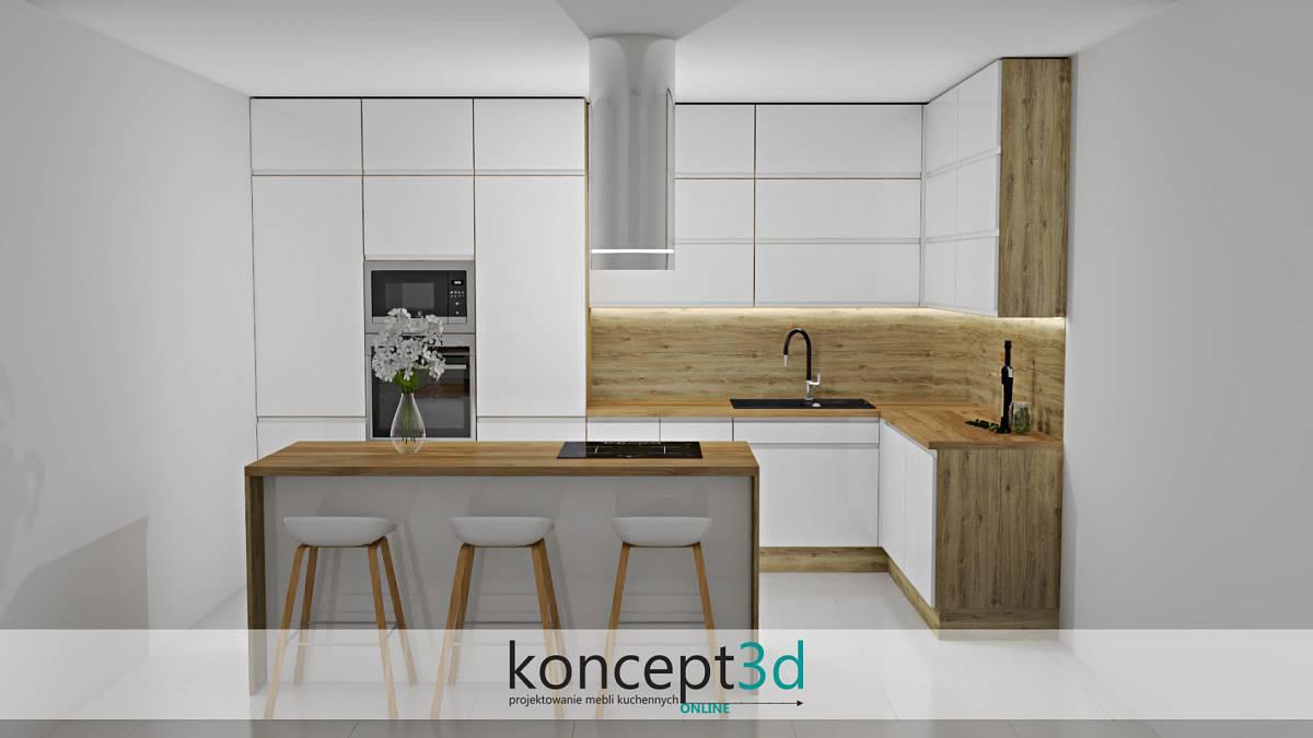 Biała kuchnia z wyspą i białymi krzesłami | koncept3d