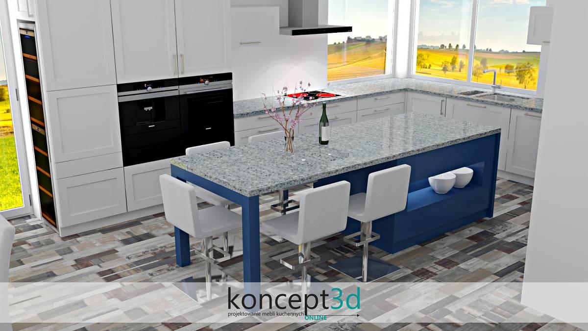 Duże klasyczne meble kuchenne wraz z niebieską wyspą | koncept3d