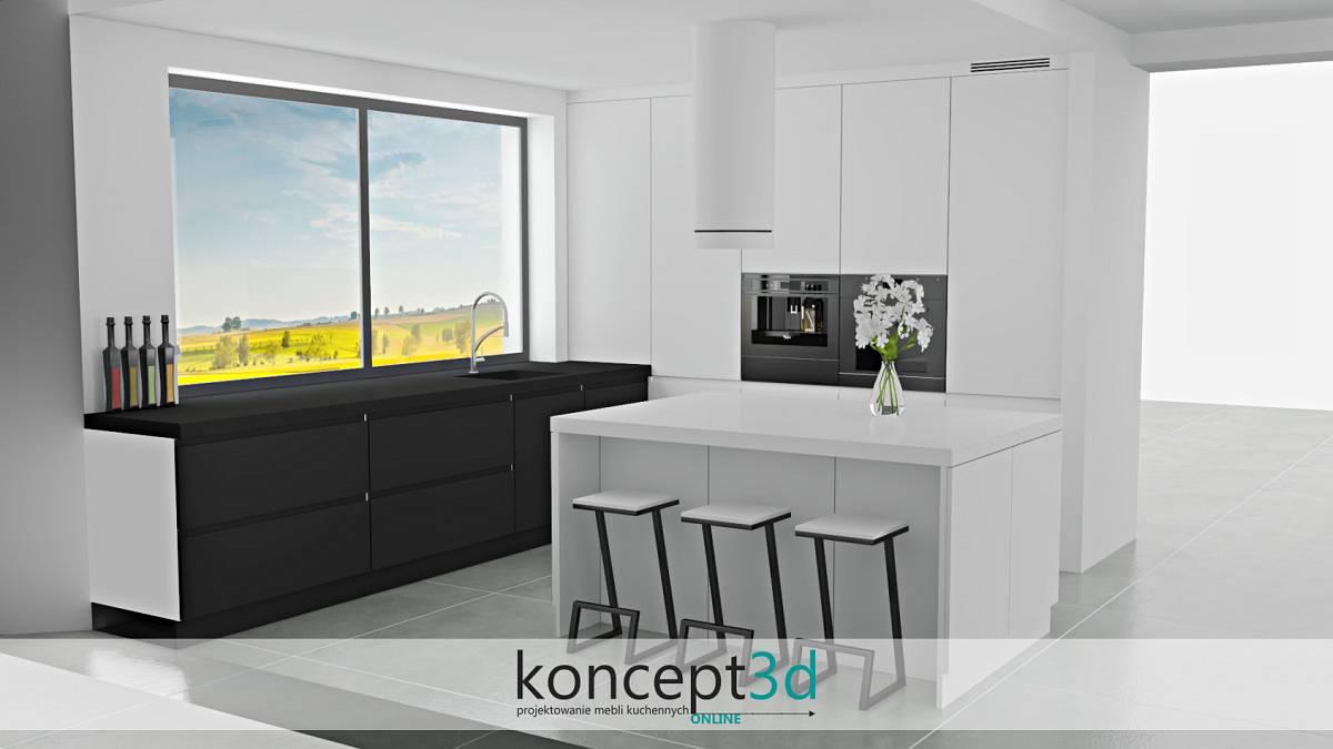 Biała wyspa i czarne krzesła | koncept3d