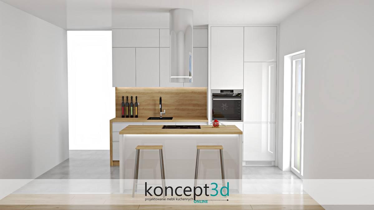 Projekt białej kuchni z okapem wyspowym | koncept3d