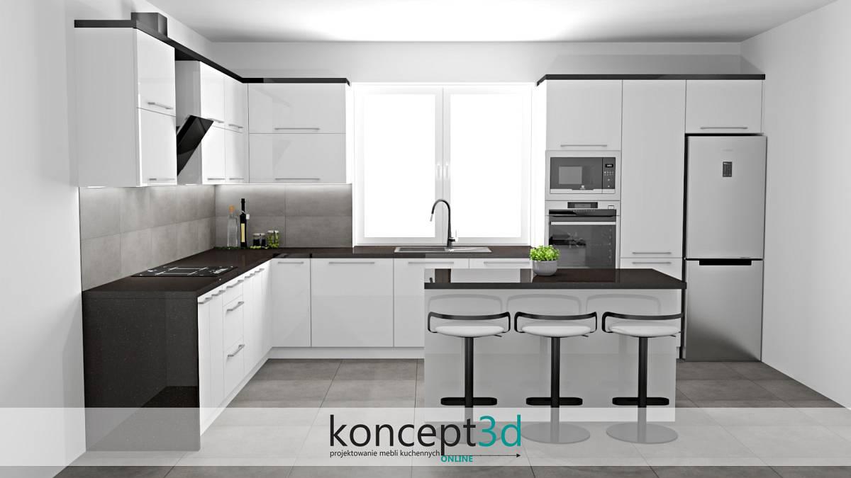 Projekt białej kuchni z połyskowym blatem i wyspą | koncept3d