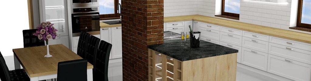Projekt białej kuchni z wyspą i stołem | koncept3d