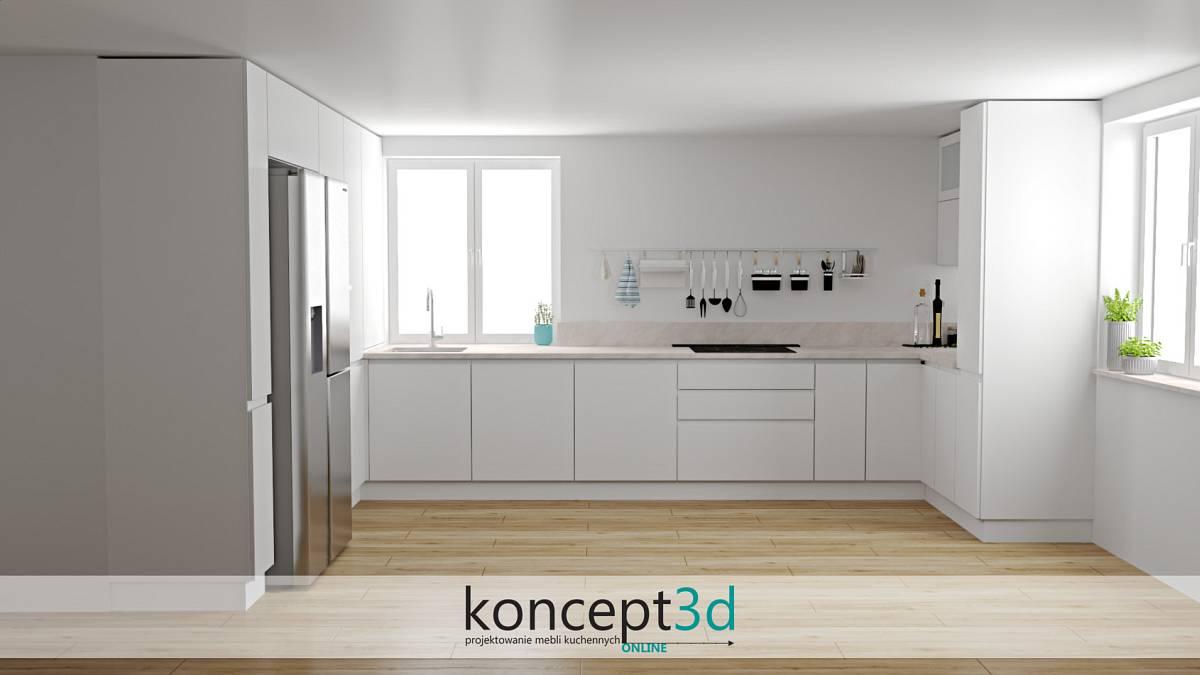 Biała kuchnia z drewnianą podłogą i pochłaniaczem chowanym w blacie   koncept3d