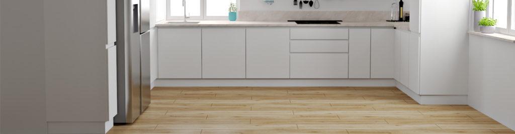 Biała kuchnia z drewnianą podłogą | koncept3d