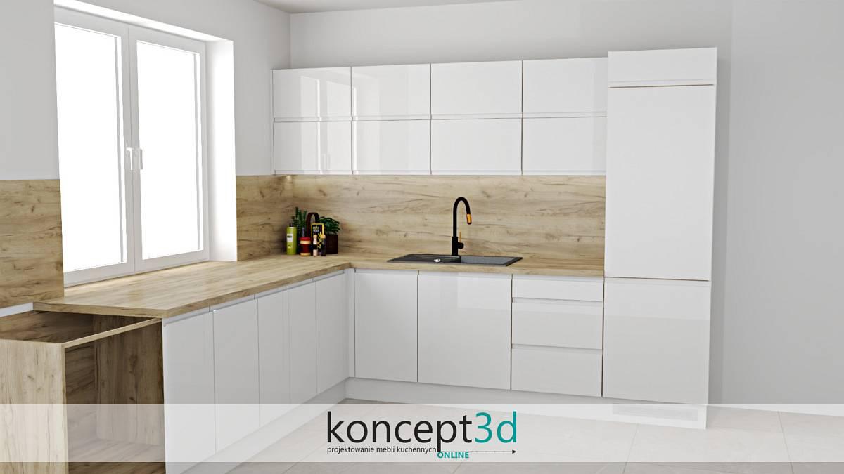 Projekt mebli kuchennych z czarnym zlewozmywakiem | koncept3d