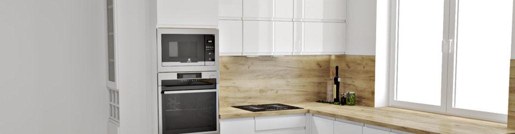 Biała kuchnia z drewnianą ścianą | koncept3d