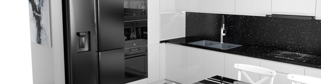 Czarne AGD w białej kuchni | koncept3d