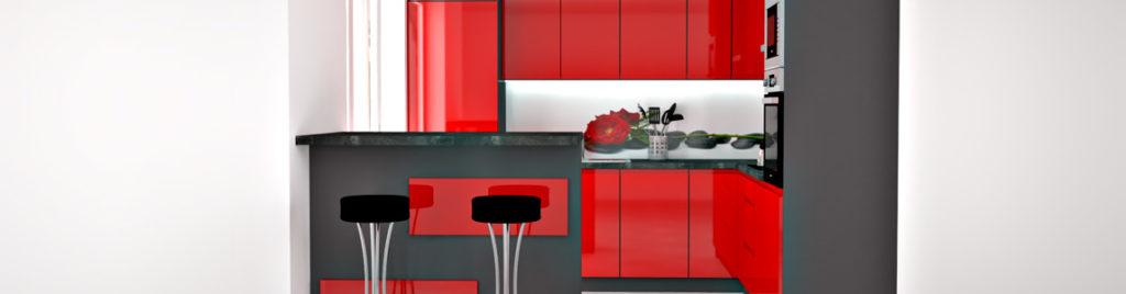 Czerwona kuchnia z grafiką na ścianie | koncept3d