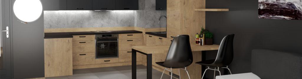 Drewniana kuchnia z czarnym blatem | koncept3d