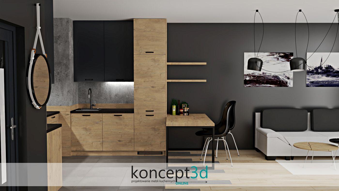 Drewniana kuchnia z czarnym blatem i stołem | projekty mebli kuchennych koncept3d