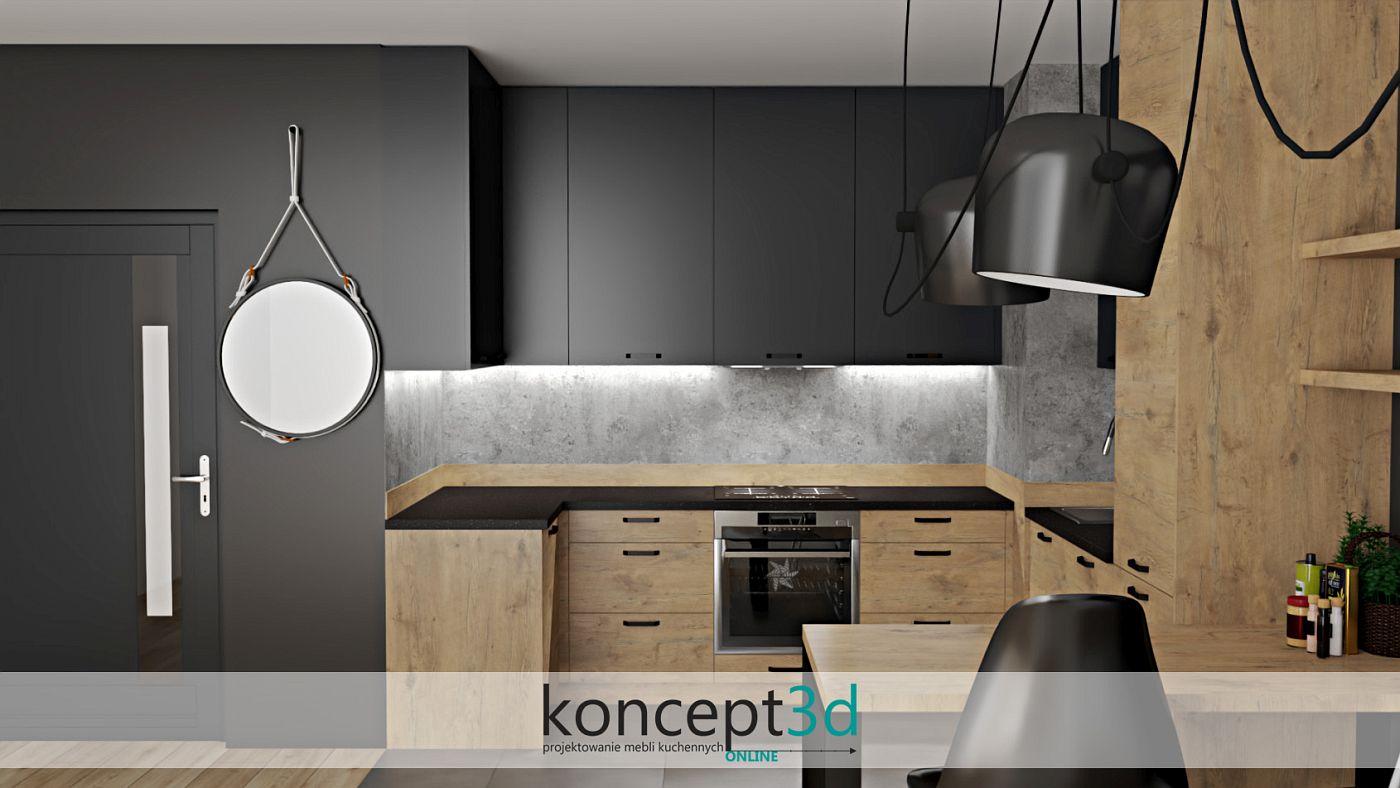 Lustro będzie ciekawym dodatkiem w drewnianej kuchni z czarnym blatem