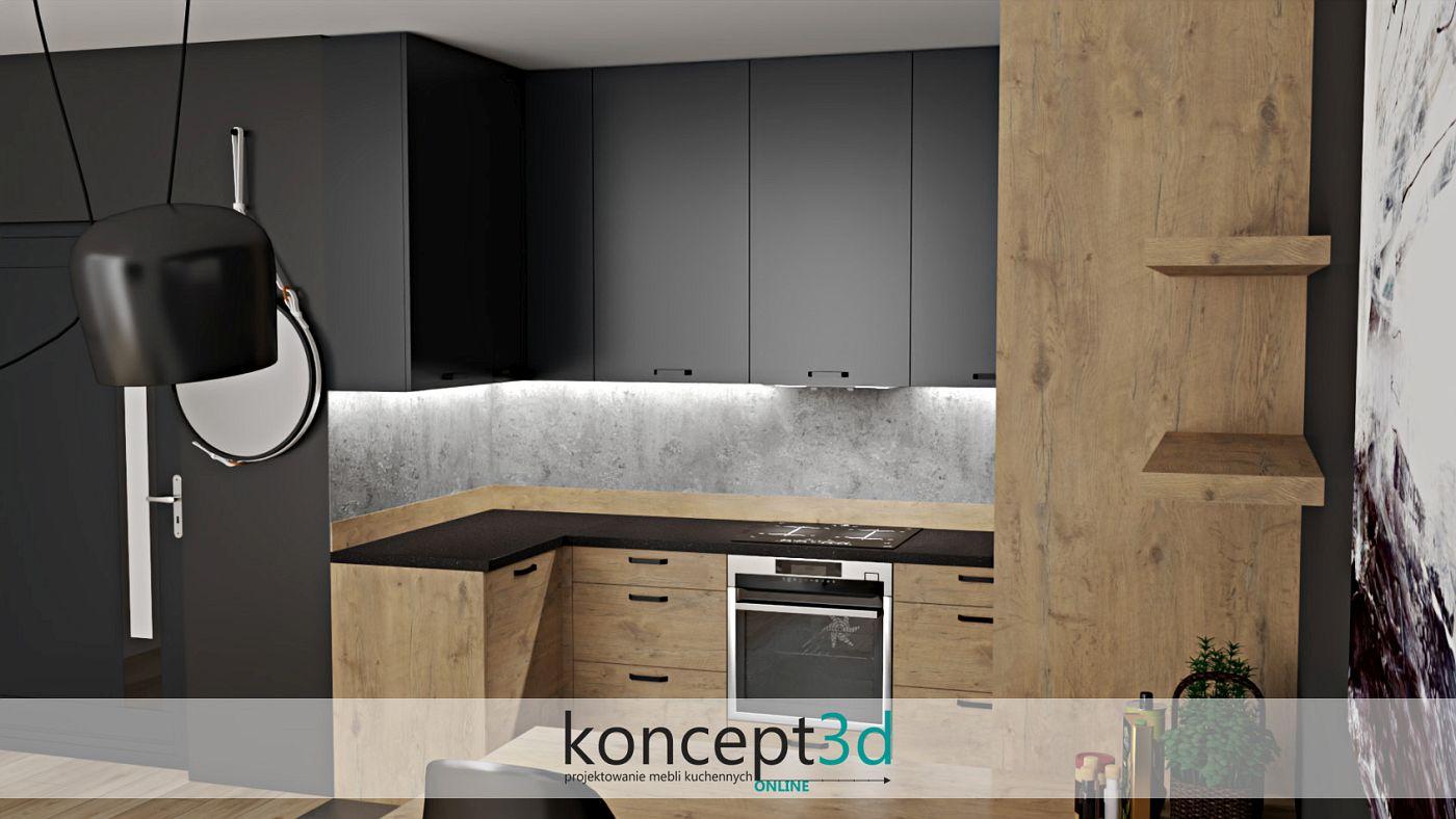 Wizualizacja mebli kuchennych w drewnianym kolorze | koncept3d