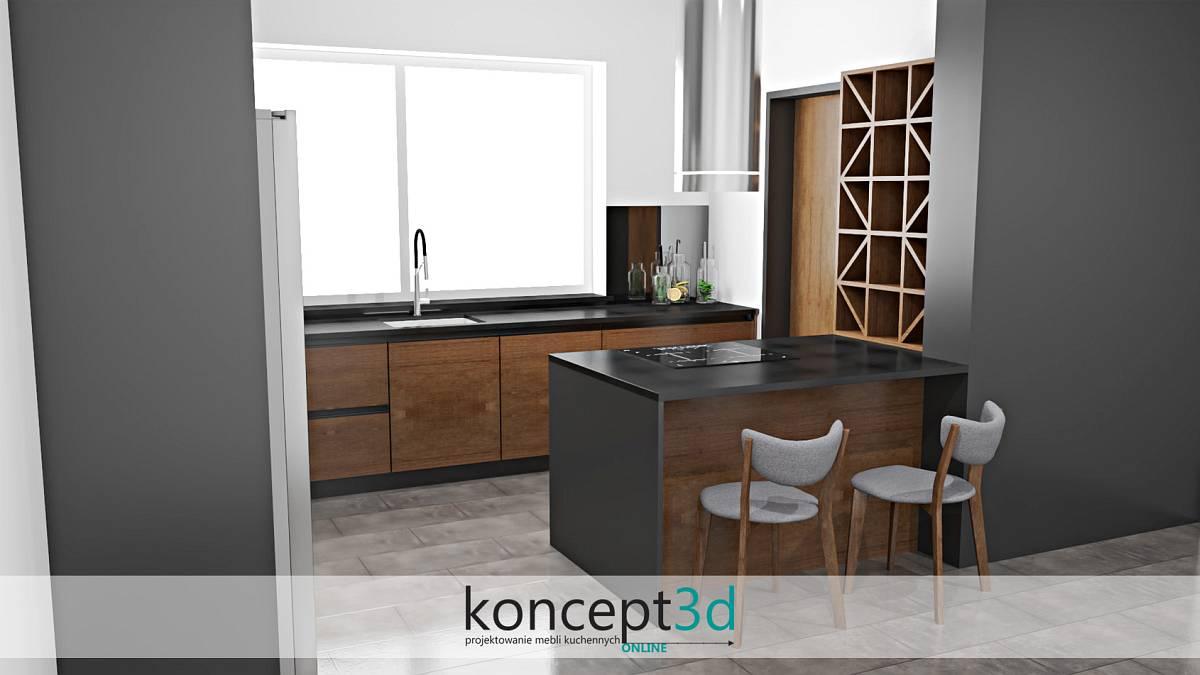 Grafitowa kuchnia z drewnem i półwyspem   koncept3d