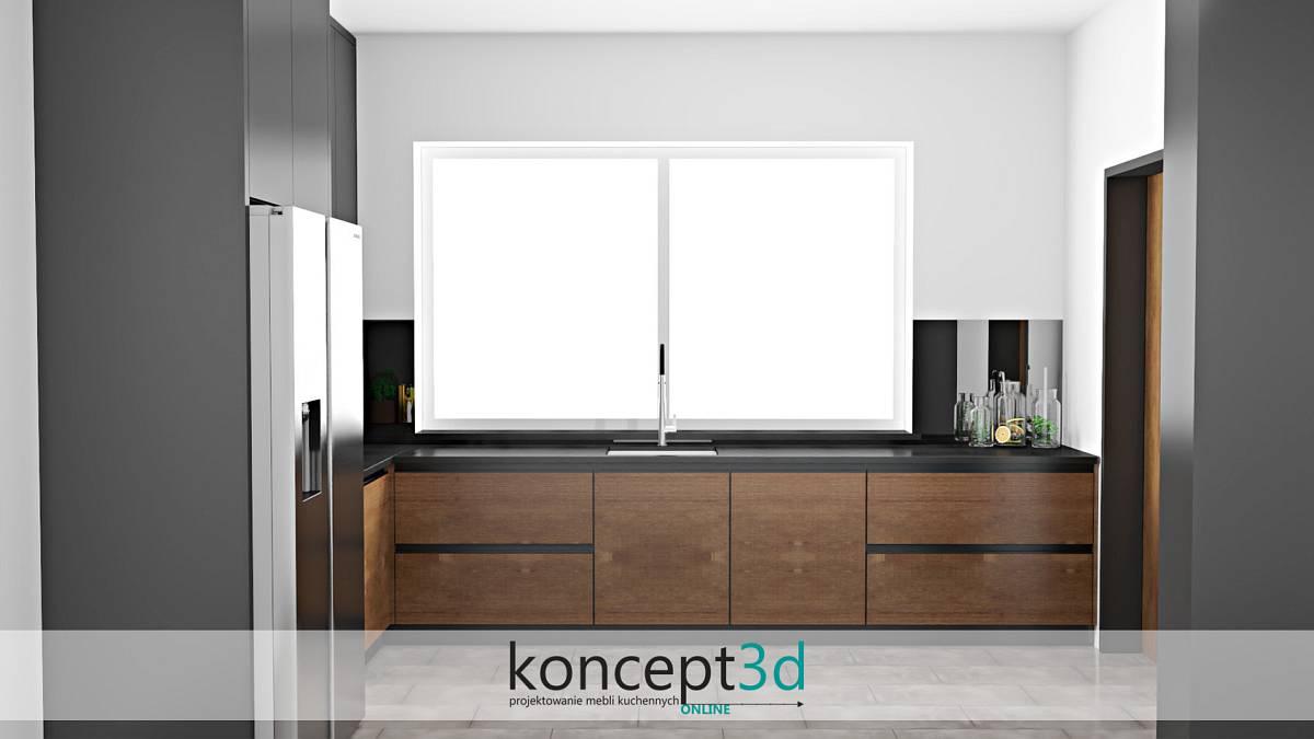 Projekt kuchni w kolorze drewnianym z grafitowymi dodatkami