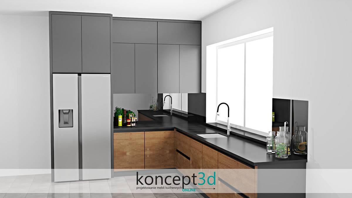 Aranżacja grafitowej kuchni z szafkami pod sufit   koncept3d