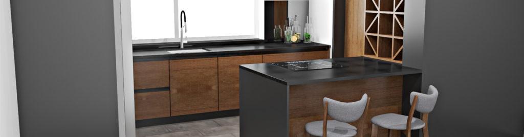 Grafitowa kuchnia z drewnem | koncept3d