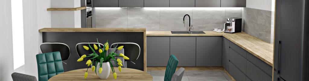 Kuchnia antracyt z drewnem | wizualizacje mebli kuchennych koncept3d