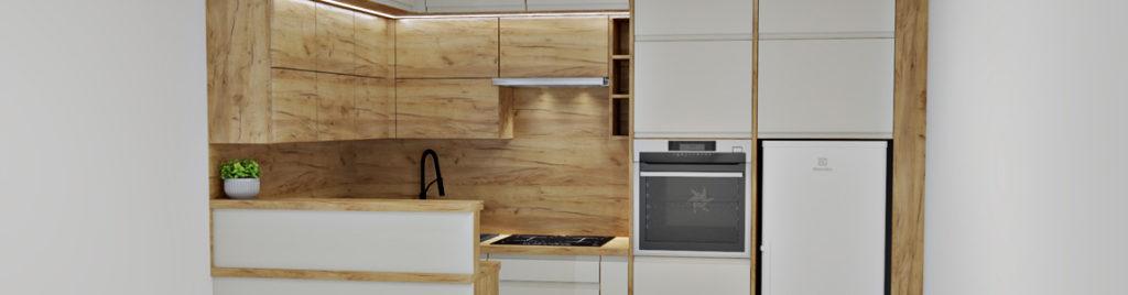 Kuchnia kość słoniowa z drewnem | koncept3d