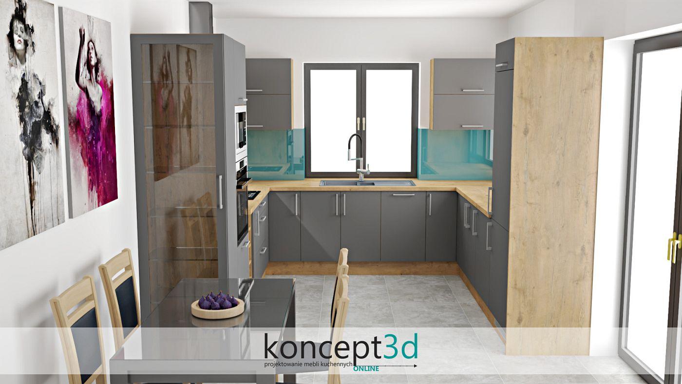 Kuchnia popielata z drewnem i turkusową zabudową na ścianie   koncept3d