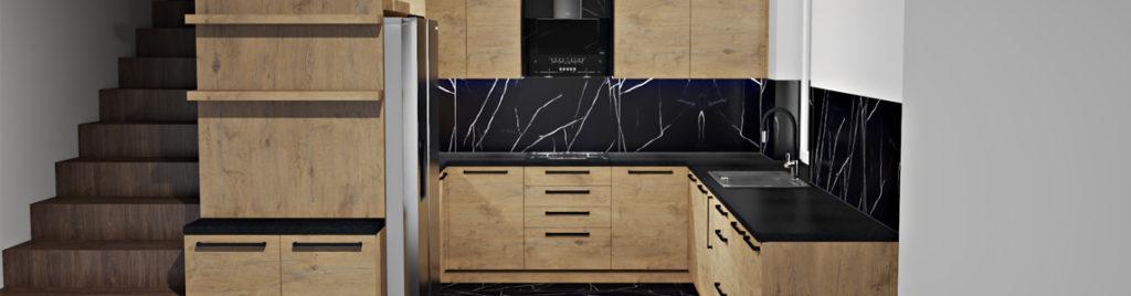 Kuchnia z płyty dąb Lancelot | projekty kuchni koncept3d